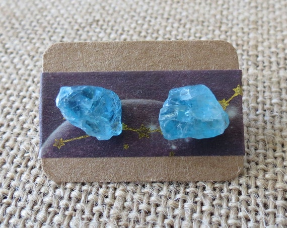 Blue Apatite Stud Earrings Raw Gemstone Jewelry