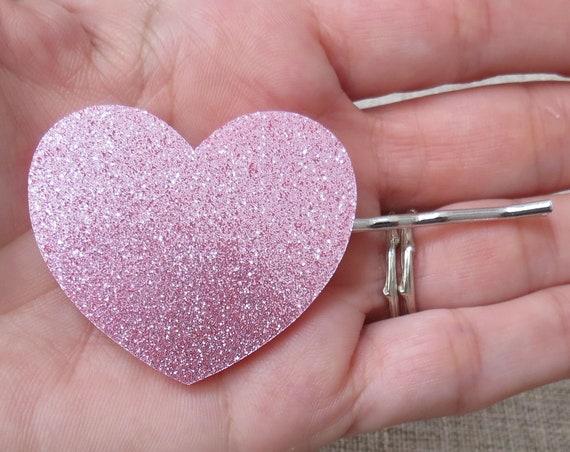 Pink Glitter Heart Hair Clip / Glitter Heart Barrette / Extra Large Hair Clip / Kawaii Hair Accessory / Cute Bobby Pin / Fairy Kei Hair Pin