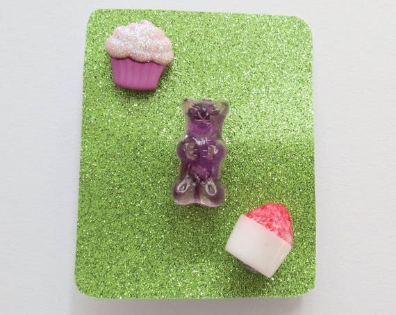Food Pin Set Cupcake Gummy Bear Snow Cone Trio Gift for Her   Flair Fun Accessory Set for Girls