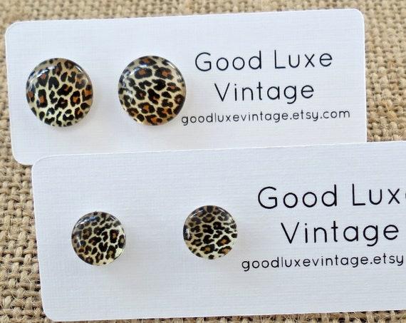 Leopard Earrings Animal Print Studs Punk Jewelry