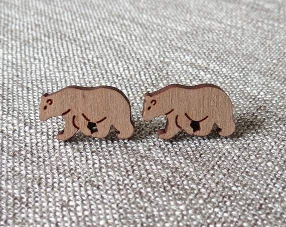 Bear Earrings / Laser Cut Wood Studs / Grizzly Bear Earrings / Wood Stud Earrings / Camping Hiking Jewelry / Nature Animal Earrings