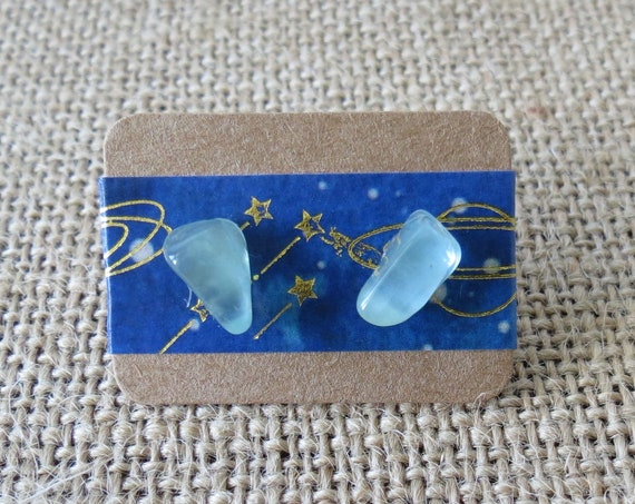 Aquamarine Studs Earrings Raw Gemstone Jewelry