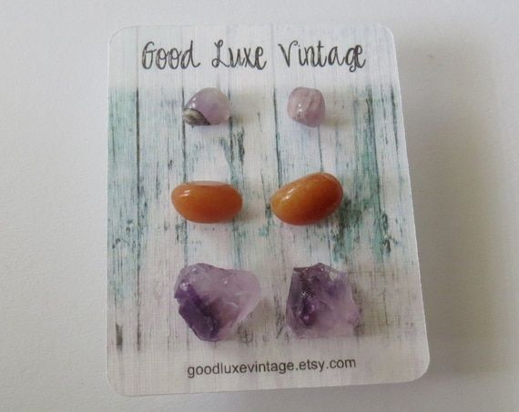 Crystal Earring Set Gemstone Studs Amethyst Orange Aventurine