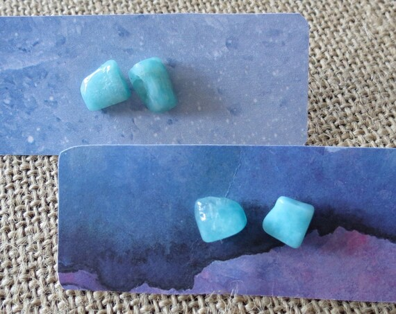Amazonite Stud Earrings Raw Gemstone Jewelry