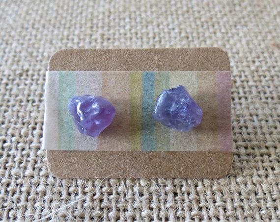 Amethyst Stud Earrings Raw Gemstone Jewelry