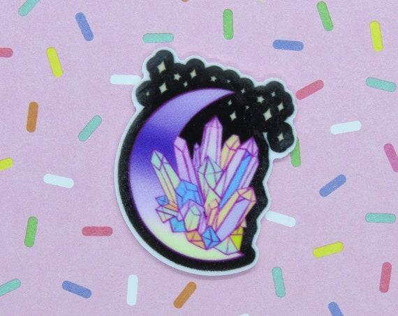 Kawaii Pastel Goth Pin Crystal Moon Galaxy Brooch