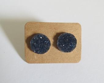 Navy Blue Druzy Earrings Sparkly Stud Earrings Faux Crystal Black Blue 12mm Fake Plugs Glitter Sparkle Jewelry
