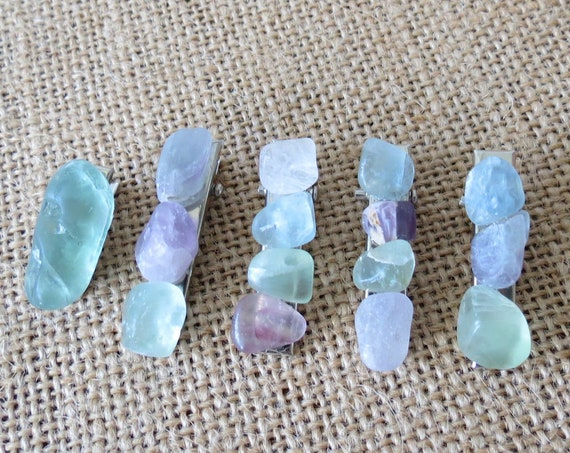 Raw Crystal Hair Clips Rainbow Fluorite