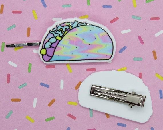 Kawaii Hair Clips Taco Pastel Holographic Bobby Pin