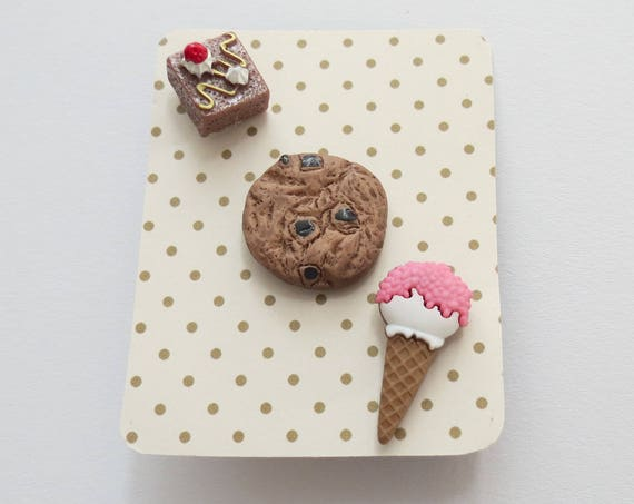 Food Pin Set Dessert Junk Food Brownie Cookie Ice Cream Trio Gift for Her   Flair Fun Accessory Set Girls