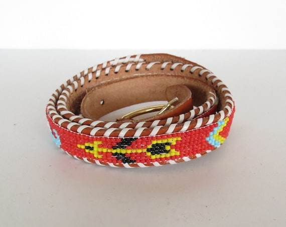 Native American Belt / Seed Bead Belt / Indian Belt / Thunderbird Belt / Leather Souvenir Beaded Belt / Size Small Medium