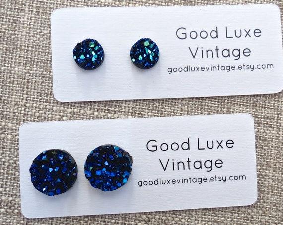 Midnight Blue Druzy Earrings / Dark Blue Druzy Studs / Sparkly Earrings / Faux Crystal Earrings / 8mm 12mm / Gift for Her