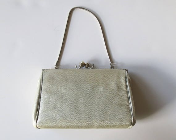 Silver Handbag / Glitter Purse / Metallic Silver Bag / Mini Handbag / 60's Evening Bag / Sparkly Clutch / 1960's Purse