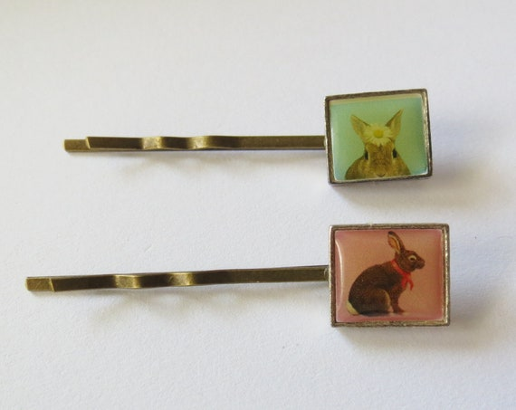 Bunny Bobby Pin Set Rabbit Hair Clips Vintage Retro Upcycled Hair Barrettes Picture Tiles Bunnies
