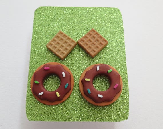 Food Earring Set Waffles Chocolate Donuts Breakfast Dessert  Gift  Present Gift for Her Accessory