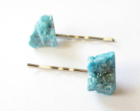 Druzy Hair Pin Set Agate Crystal Bobby Pin Hair Clips Barrettes Pastel Blue Boho Bohemian Kawaii Rainbow Dyed Stones Gift for Her