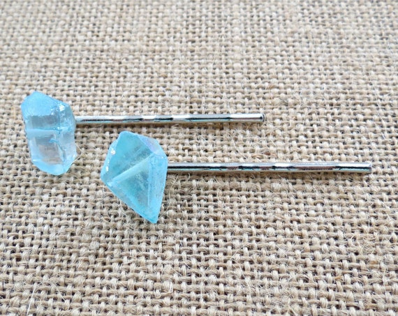Blue Crystal Hair Pins Quartz Hair Clips