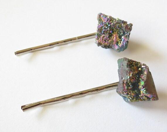 Druzy Hair Pin Set Agate Crystal Bobby Pin Hair Clips Barrettes Rainbow Boho Bohemian Kawaii Rainbow Dyed Stones Gift for Her