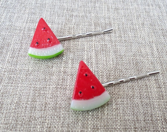 Watermelon Hair Pins / Watermelon Slice Hair Clips / Kawaii Hair Accessory / Cute Bobby Pin / Fairy Kei Hair Pin / Fruit Hair Clips