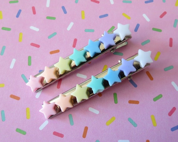 Pastel Rainbow Stars Hair Clips Barrettes