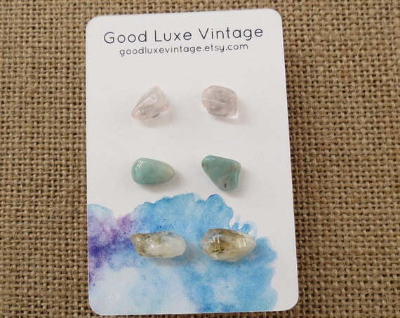 Crystal Earring Set Gemstone Studs Rose Quartz Amazonite Citrine