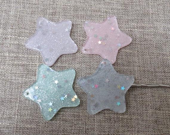 Pastel Star Hair Clips / Glitter Star Barrettes / Sparkly Star Hair Clips / Kawaii Hair Accessory / Cute Bobby Pin / Fairy Kei Hair Pin