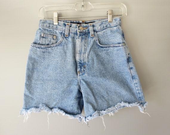 Frayed Denim Shorts / 90's Jean Shorts / Size XS Small / High Waisted Denim Shorts / Cut Off Shorts / 1990's Shorts