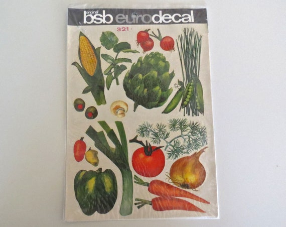 Vegetable Decals / Vintage Decals / Vintage Stickers / Original BsB Eurodecal / Home Decor Decals / Water Decals
