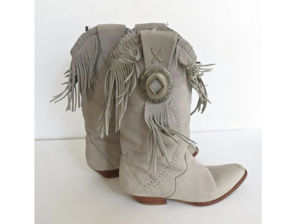 Fringed Western Boots / Fringe Cowgirl Boots / Gray Suede Leather Boots / Size 5 / Concho Boots / Southwestern Boots / Circle S Tonka