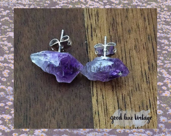 Raw Amethyst Earrings / Rough Amethyst Studs / Amethyst Chunk Earrings / Amethyst Crystal Earrings / Mother's Day Gift