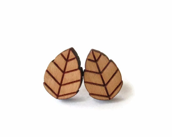 Leaf Earrings Wood Leaves Plant Tree Themed Studs Cherry Wood Nature Minimalistic Jewelry Gift for Her