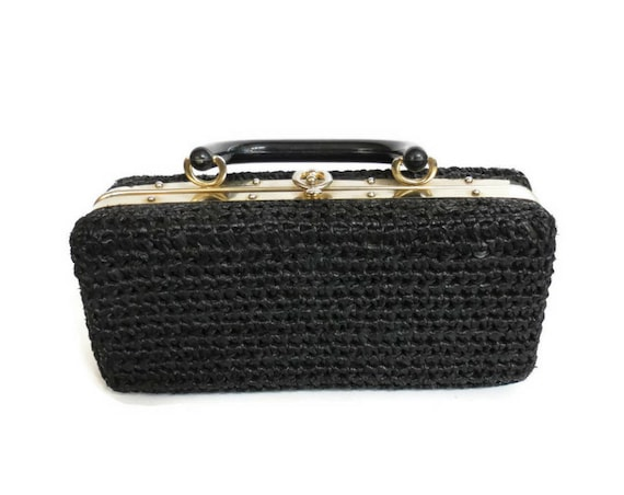 Black Box Purse / 60's Clutch Purse / 1960's Handbag / Woven Box Purse / Top Handle Clutch / Mid Century Handbag