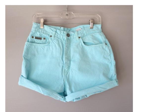 """Pastel Shorts / CK Denim Shorts / Calvin Klein Shorts / 90's Denim Shorts / 1990's Jean Shorts / Turquoise Blue Shorts / Size 8 10 30"""" Waist"""