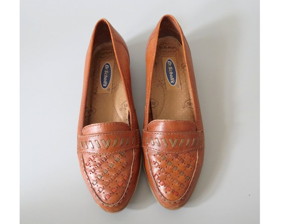 Woven Leather Flats / Leather Loafers / Size 7.5 / Dr. Scholl's Loafers / Woven Loafers / Rainbow Flats