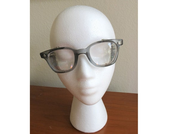 Vintage Safety Glasses / 50's Eyeglass Frames / 50's Eyeglasses / Mid Century Eyewear / Mesh Sides / Steampunk Glasses / American Optical