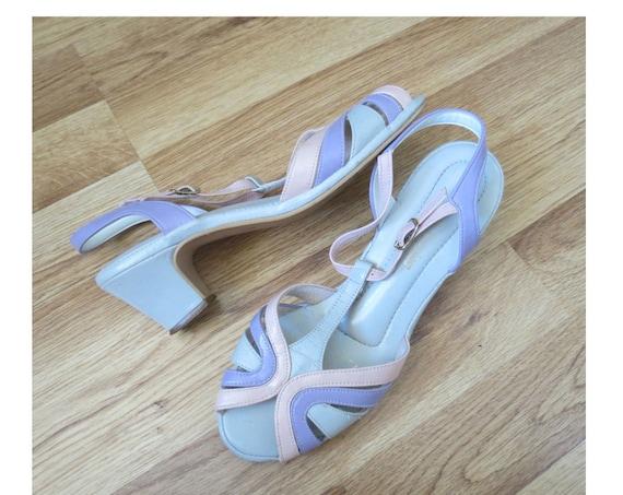 Pastel Rainbow Sandals / 80's Sandals / Vegan Shoes / Pastel Heels / Size 6 / Hushpuppies Shoes / Faux Leather Sandals