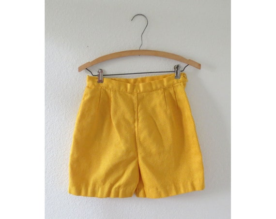 60s Shorts Yellow High Waisted 1960s Shorts