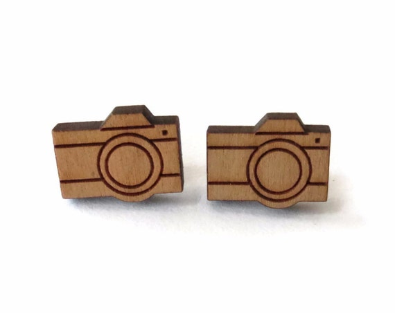 Camera Earrings / Camera Studs / Wood Stud Earrings / Gift for Her / Photographer Gift / Photography Jewelry