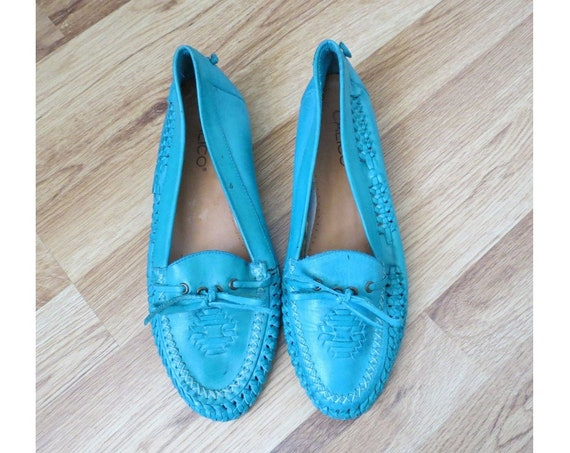 Turquoise Leather Flats / Moccasins / Blue Moccasins / Size 8.5 / Southwestern Flats / 90's Shoes / 1990's Loafers