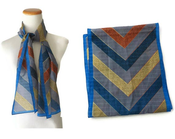 Chevron Striped Scarf / 70's Scarf / Boho Hippie Hair Scarf / Earth Tones / Thin Scarf / Gift for Her / 1970's Accessory