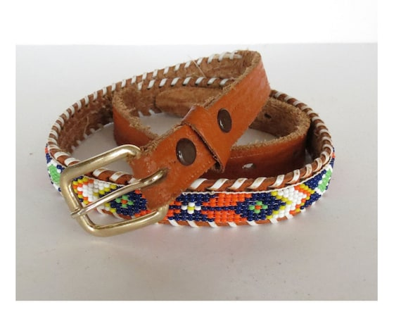 Native American Belt / Seed Bead Belt / Indian Belt / Leather Souvenir Beaded Belt / Size Small