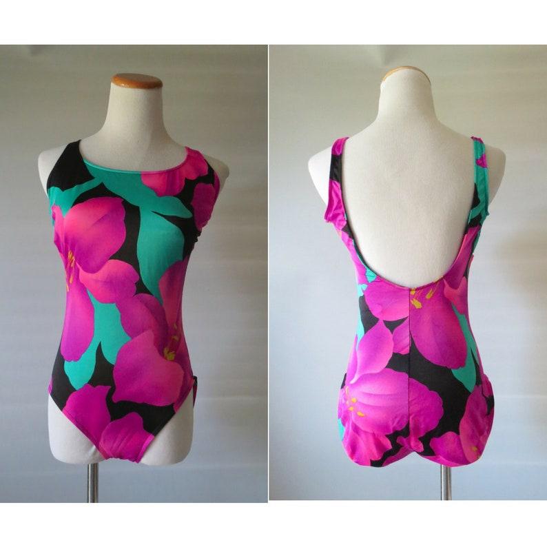 226f8ab74c0 Floral Tank Swimsuit 80's One Piece Bathing Suit Size | Etsy