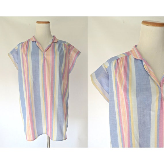 Pastel Striped Blouse Rainbow Stripe Top