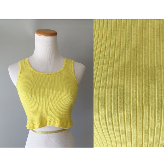 80's Crop Top / Cropped Tank Top / Yellow Cropped Top / 1980's Tank Top / Size XS Small Medium / Summer Festival Top / Crop Tank Top