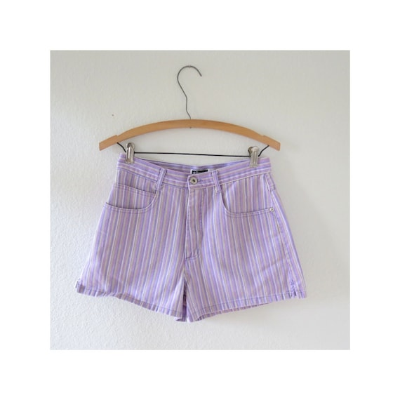 Purple Shorts 90s Striped Denim Shorts