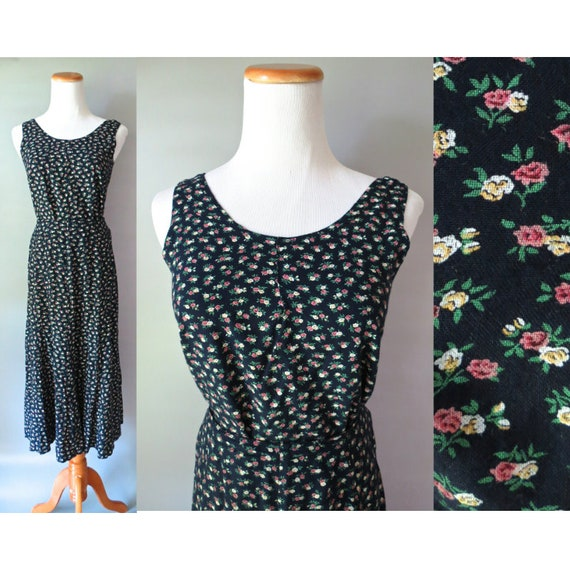 90's Floral Skirt and Crop Top Set 1990's Black Ditsy Flower Print Midi Skirt and Sleeveless Blouse Size Small S