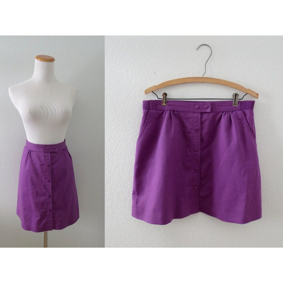 80s Mini Skirt Vintage Purple A-line Skirt