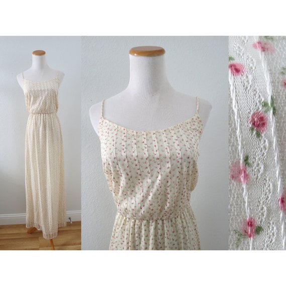 70s Floral Maxi Dress 1970s Boho Sundress