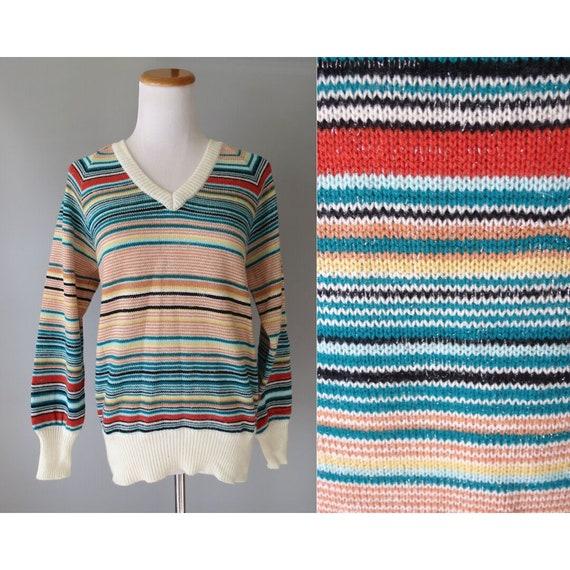 70's Striped Sweater / 1970's Rainbow Pullover Sweater / Lurex Metallic Thread / Size Small S Medium M / Boho Hippie Sweater / Fall Autumn