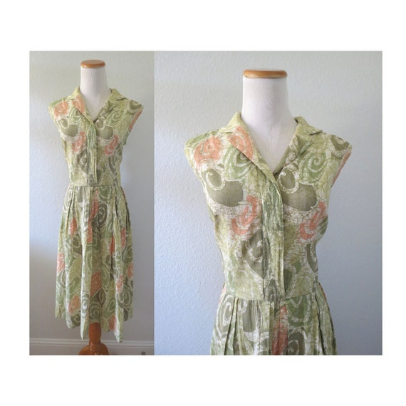 1960s Summer Dress 60s Sleeveless Dress